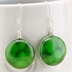 Green Aventurine Stone Round Earrings 1a (Medium)