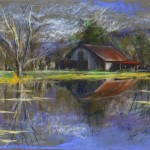 Barn and Pond Pastel